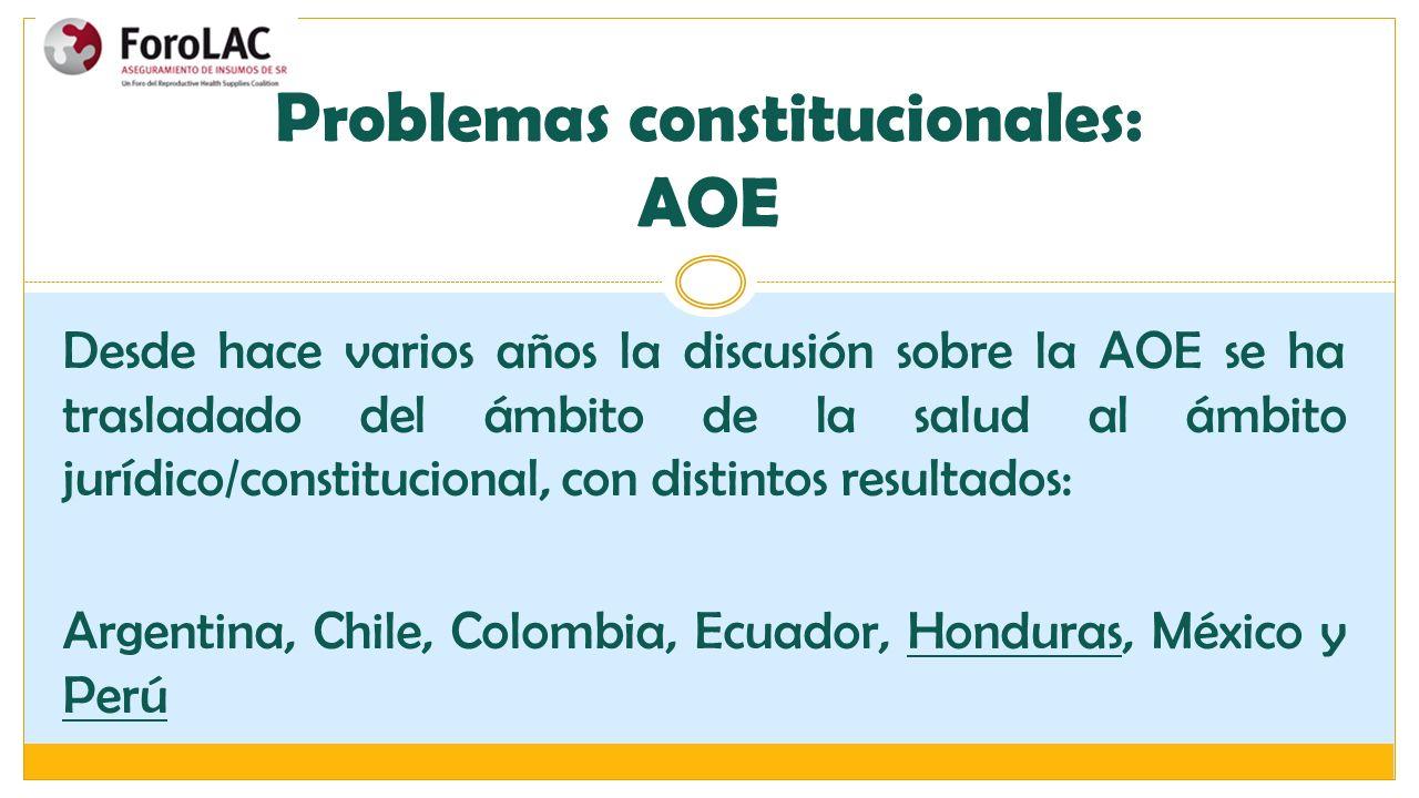 Problemas constitucionales: AOE Desde hace varios años la discusión sobre la AOE se ha trasladado del ámbito de la salud al ámbito jurídico/constituci