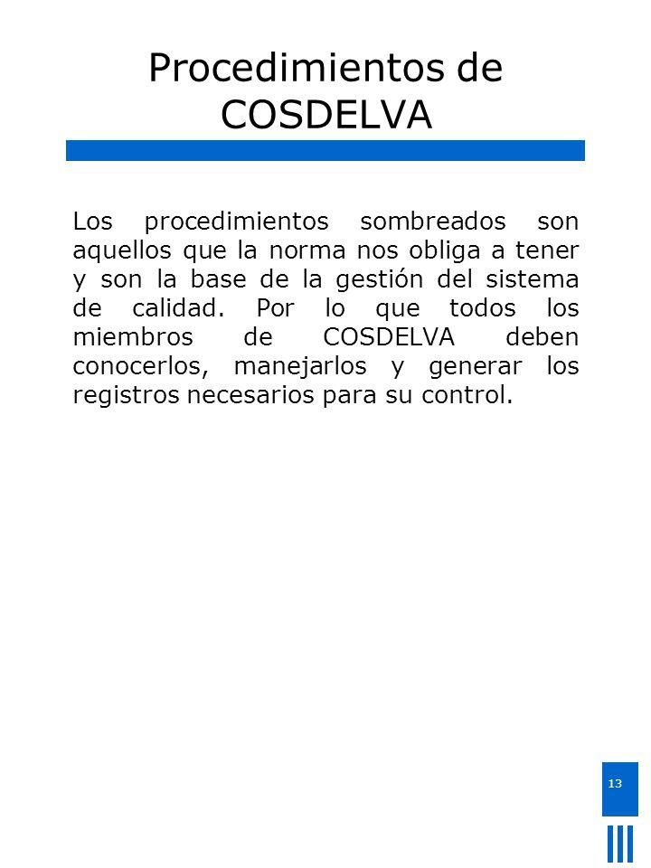 13 Procedimientos de COSDELVA Los procedimientos sombreados son aquellos que la norma nos obliga a tener y son la base de la gestión del sistema de ca