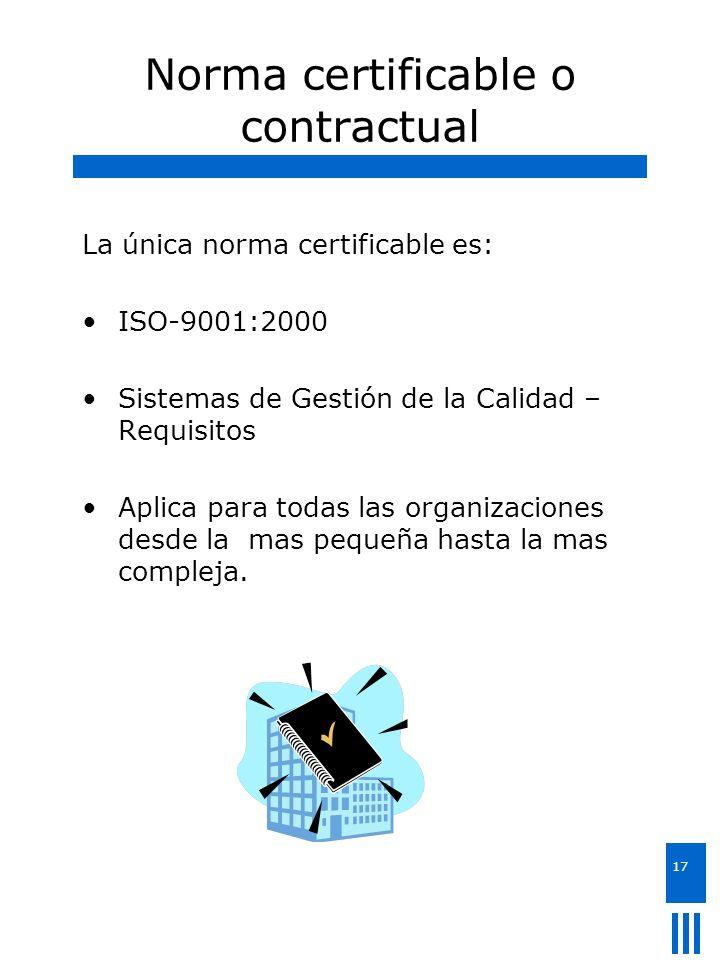 17 Norma certificable o contractual La única norma certificable es: ISO-9001:2000 Sistemas de Gestión de la Calidad – Requisitos Aplica para todas las