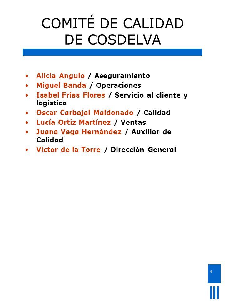 4 COMITÉ DE CALIDAD DE COSDELVA Alicia Angulo / Aseguramiento Miguel Banda / Operaciones Isabel Frías Flores / Servicio al cliente y logística Oscar C