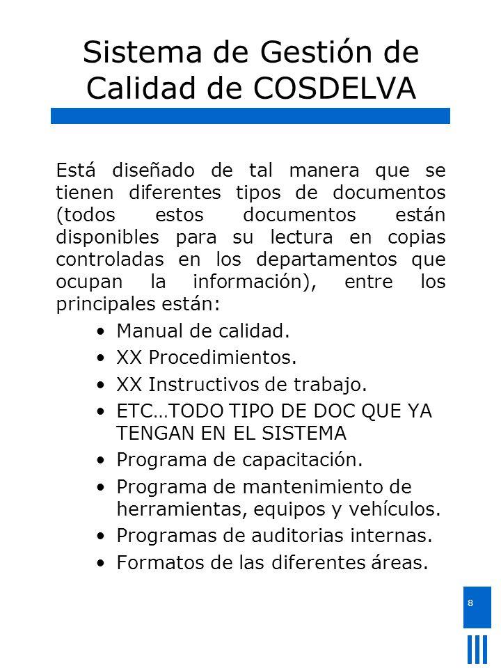 8 Sistema de Gestión de Calidad de COSDELVA Está diseñado de tal manera que se tienen diferentes tipos de documentos (todos estos documentos están dis
