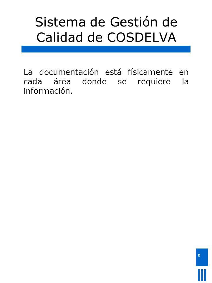9 Sistema de Gestión de Calidad de COSDELVA La documentación está físicamente en cada área donde se requiere la información.