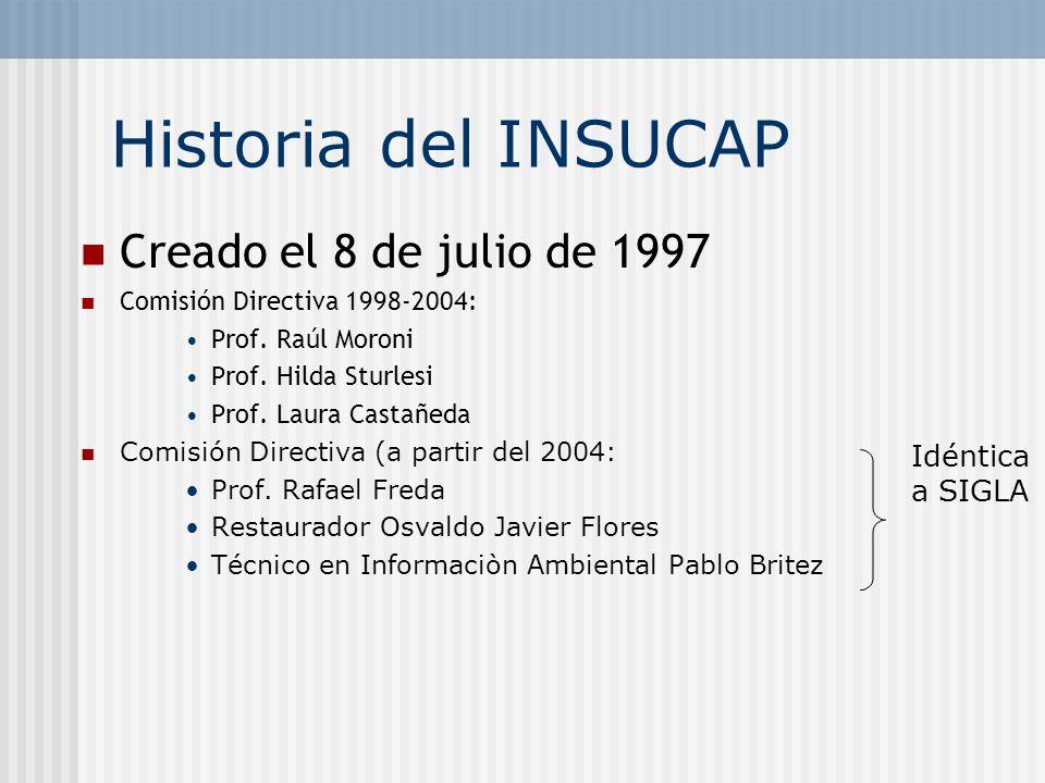 Historia del INSUCAP Creado el 8 de julio de 1997 Comisión Directiva 1998-2004: Prof. Raúl Moroni Prof. Hilda Sturlesi Prof. Laura Castañeda Comisión