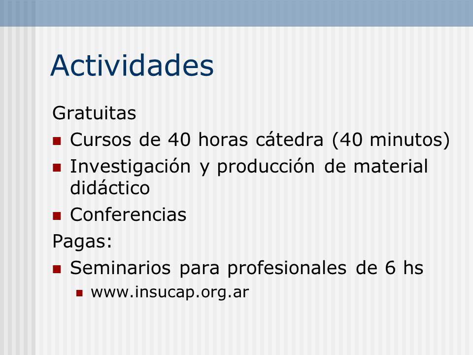 Actividades Gratuitas Cursos de 40 horas cátedra (40 minutos) Investigación y producción de material didáctico Conferencias Pagas: Seminarios para pro