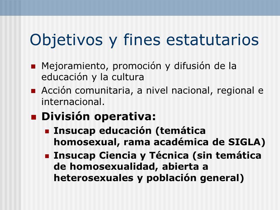 Objetivos y fines estatutarios Mejoramiento, promoción y difusión de la educación y la cultura Acción comunitaria, a nivel nacional, regional e intern