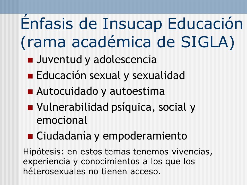 Énfasis de Insucap Educación (rama académica de SIGLA) Juventud y adolescencia Educación sexual y sexualidad Autocuidado y autoestima Vulnerabilidad p