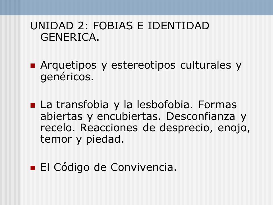 UNIDAD 2: FOBIAS E IDENTIDAD GENERICA. Arquetipos y estereotipos culturales y genéricos. La transfobia y la lesbofobia. Formas abiertas y encubiertas.
