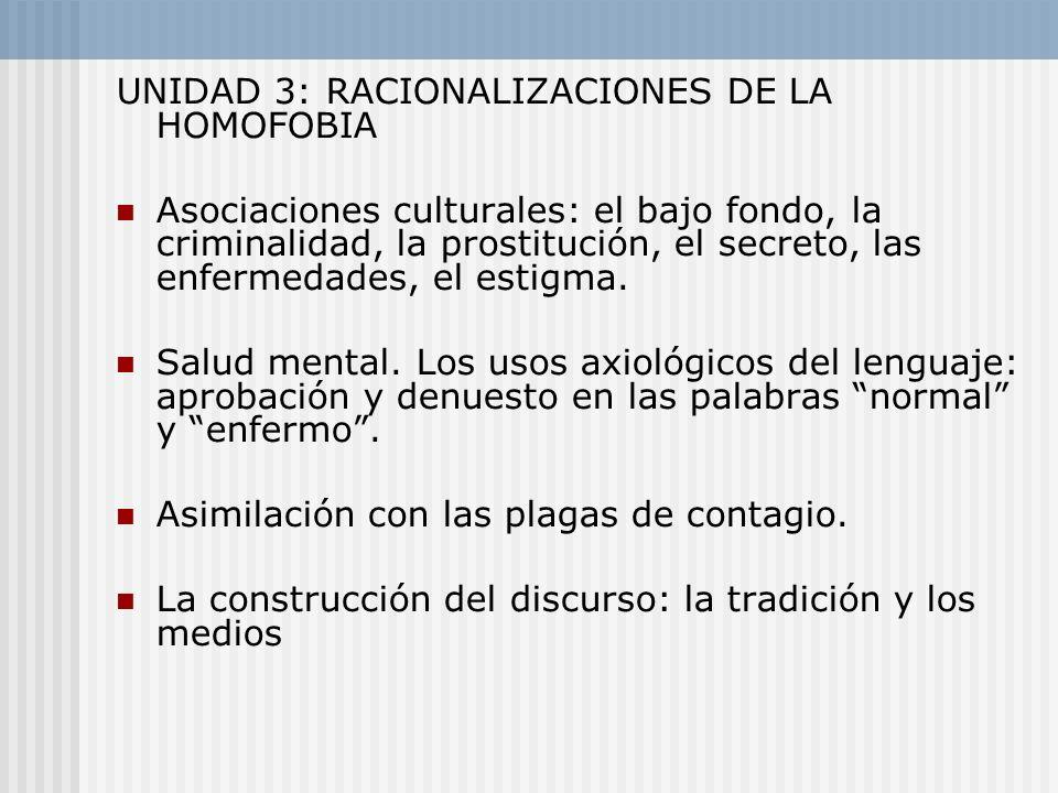 UNIDAD 3: RACIONALIZACIONES DE LA HOMOFOBIA Asociaciones culturales: el bajo fondo, la criminalidad, la prostitución, el secreto, las enfermedades, el