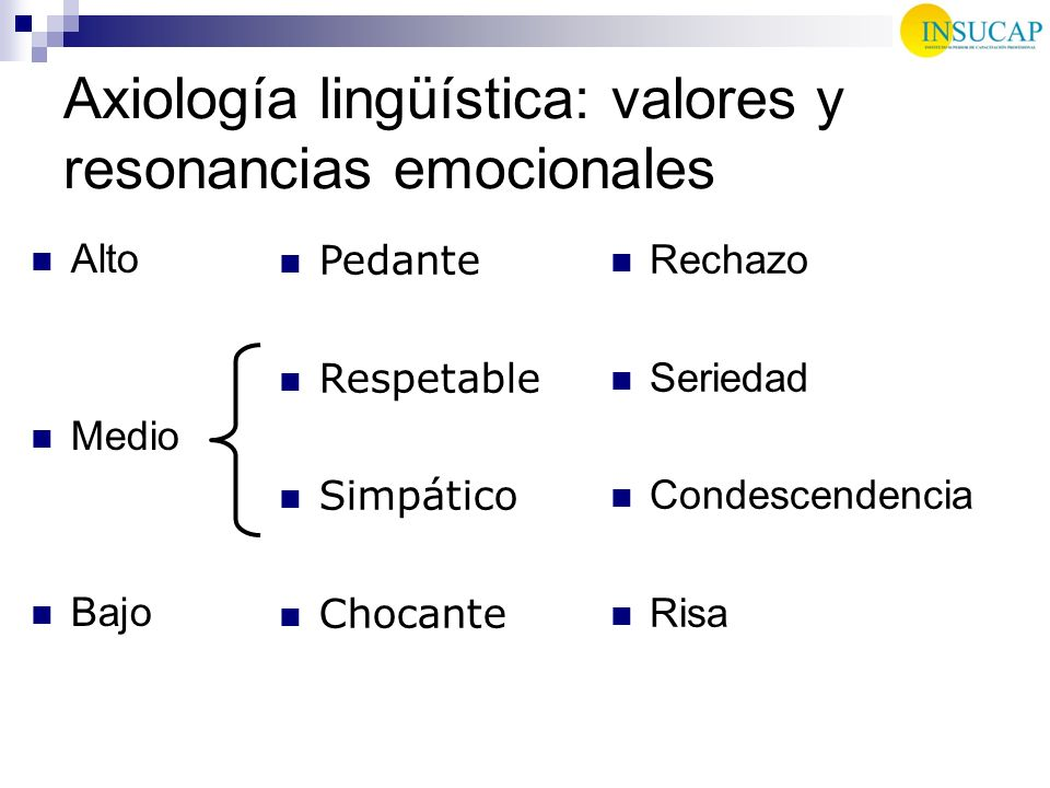 Axiología lingüística: valores y resonancias emocionales Alto Medio Bajo Rechazo Seriedad Condescendencia Risa Pedante Respetable Simpático Chocante