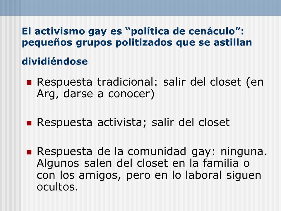El activismo gay es política de cenáculo: pequeños grupos politizados que se astillan dividiéndose Respuesta tradicional: salir del closet (en Arg, da