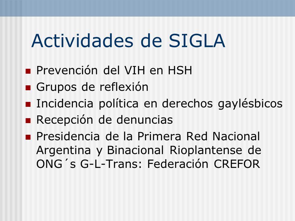 Actividades de SIGLA Prevención del VIH en HSH Grupos de reflexión Incidencia política en derechos gaylésbicos Recepción de denuncias Presidencia de l