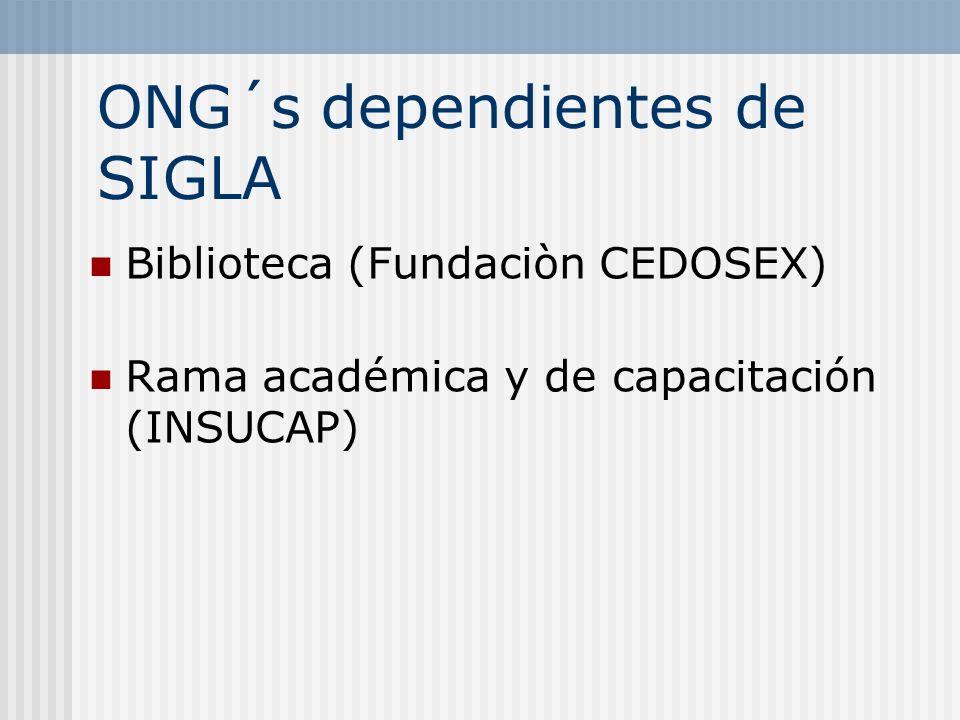 ONG´s dependientes de SIGLA Biblioteca (Fundaciòn CEDOSEX) Rama académica y de capacitación (INSUCAP)