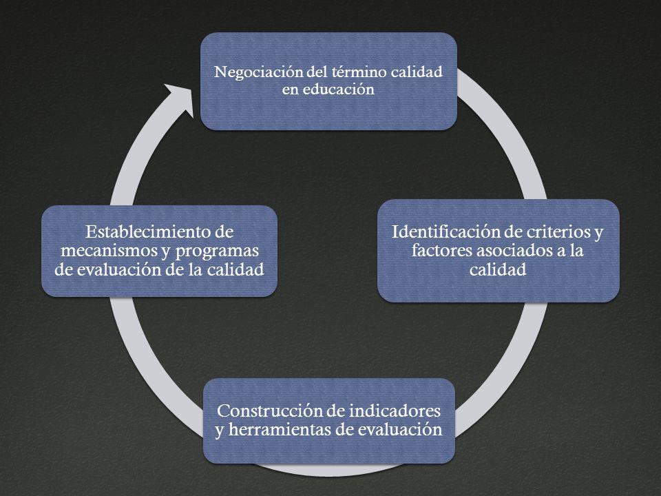 Negociación del término calidad en educación Identificación de criterios y factores asociados a la calidad Construcción de indicadores y herramientas