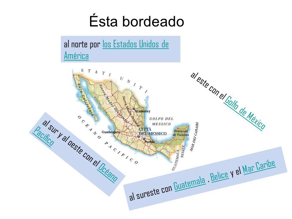 Ésta bordeado al norte por los Estados Unidos de Américalos Estados Unidos de América al sur y al oeste con el Océano PacíficoOcéano Pacífico al este