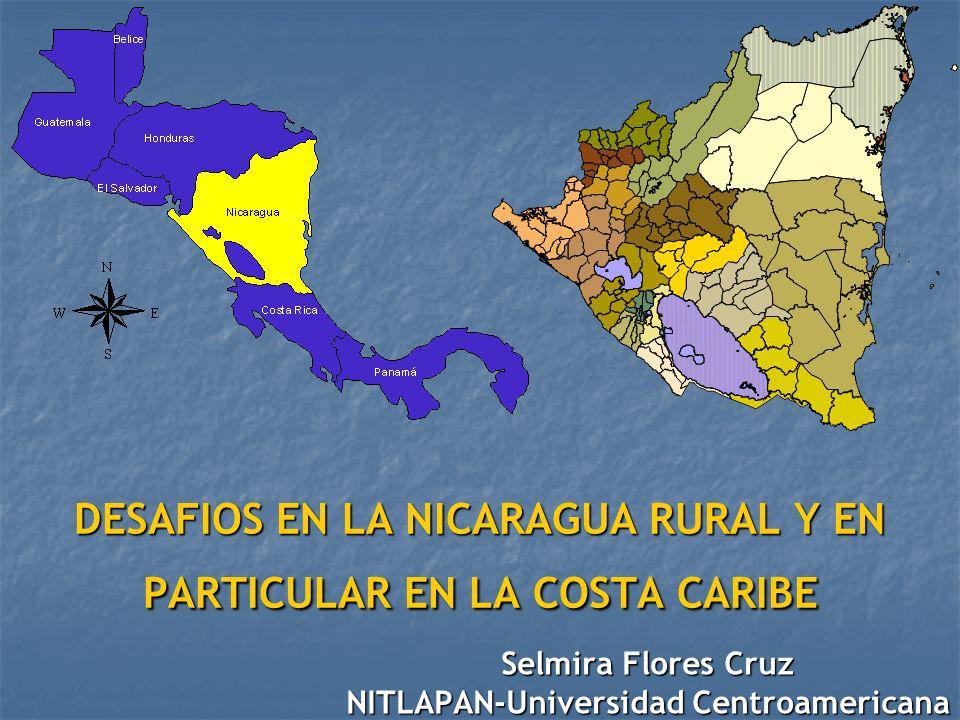 Nicaragua en los últimos 25 años: (1979-2004) FIN DE LA DICTADURA MILITAR (1979) REVOLUCION POPULAR SANDINISTA (1979 – 1989) 3 GOBIERNOS LIBERALES (1990-1996-2002) Transformaciones estructurales: tierra, educación, salud Guerra Bloqueo económico Crisis e hiperinflación Culminación de la guerra Privatización Libre mercado Desempleo, migración y pobreza Base : disponibilidad de tierra, clima y recursos naturales, se sustenta en las capacidades productivas de la zona rural donde habita el 41.43% de la población actual