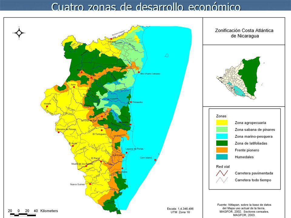 Cuatro zonas de desarrollo económico