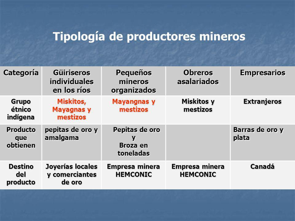 Categoría Güiriseros individuales en los ríos Pequeños mineros organizados Obreros asalariados Empresarios Grupo étnico indígena Miskitos, Mayagnas y