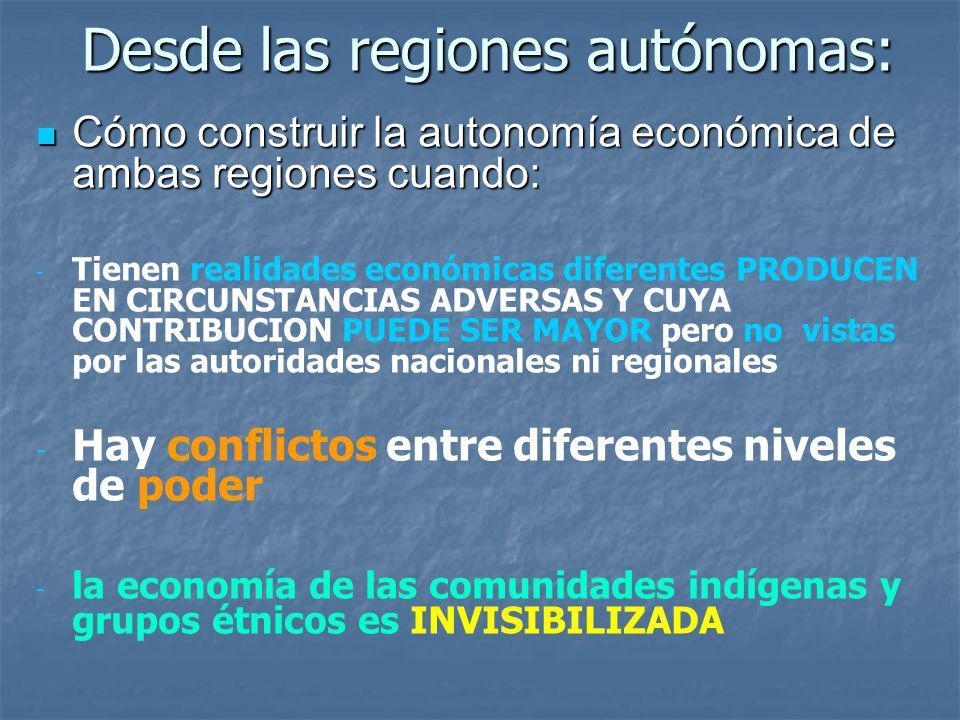 Desde las regiones autónomas: Cómo construir la autonomía económica de ambas regiones cuando: Cómo construir la autonomía económica de ambas regiones