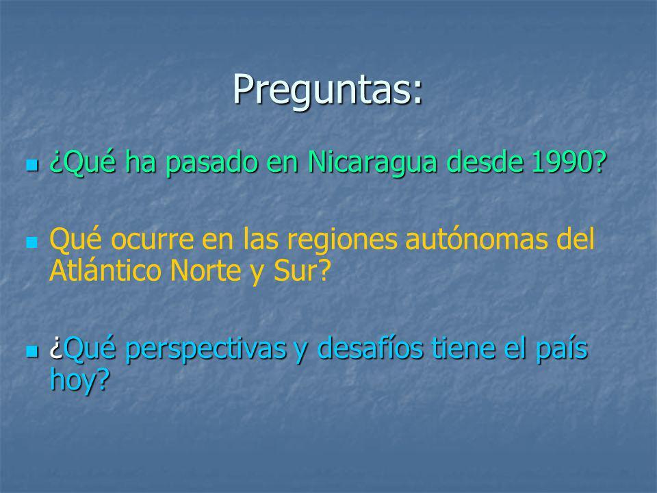 Preguntas: ¿Qué ha pasado en Nicaragua desde 1990? ¿Qué ha pasado en Nicaragua desde 1990? Qué ocurre en las regiones autónomas del Atlántico Norte y
