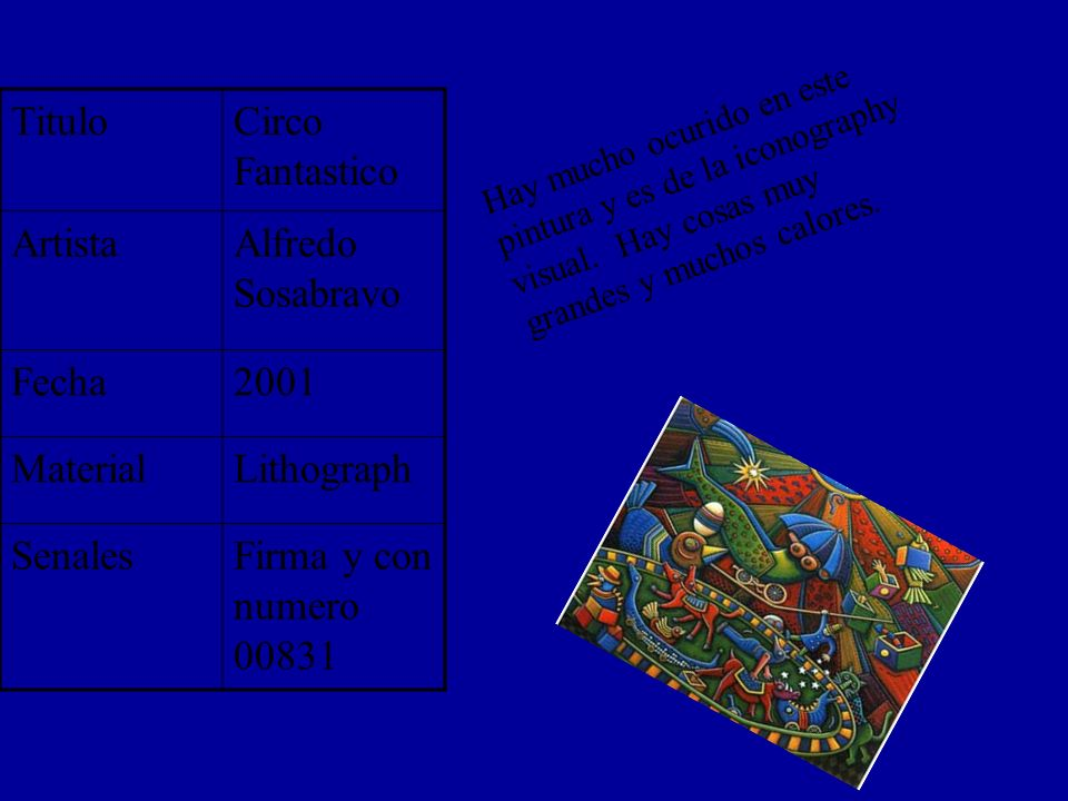 TituloCirco Fantastico ArtistaAlfredo Sosabravo Fecha2001 MaterialLithograph SenalesFirma y con numero 00831 Hay mucho ocurido en este pintura y es de la iconography visual.
