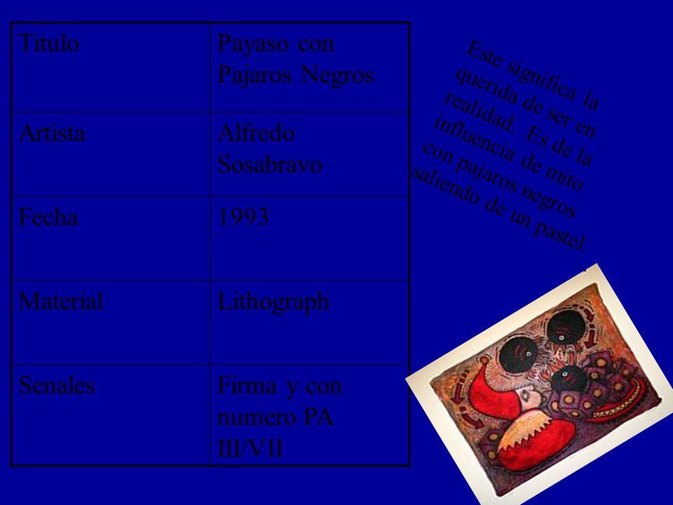 TituloPayaso con Pajaros Negros ArtistaAlfredo Sosabravo Fecha1993 MaterialLithograph SenalesFirma y con numero PA III/VII Este significa la querida de ser en realidad.