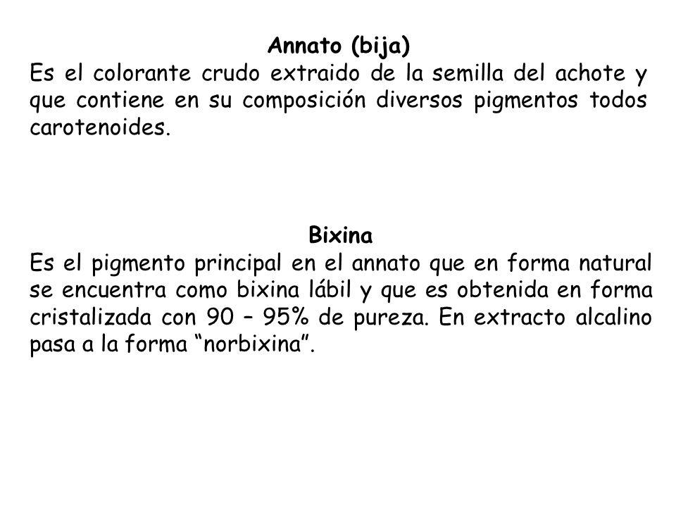 Annato (bija) Es el colorante crudo extraido de la semilla del achote y que contiene en su composición diversos pigmentos todos carotenoides. Bixina E