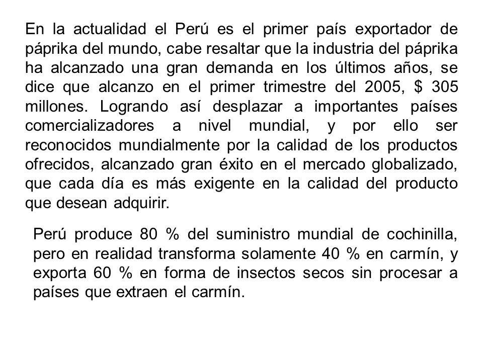 En la actualidad el Perú es el primer país exportador de páprika del mundo, cabe resaltar que la industria del páprika ha alcanzado una gran demanda e
