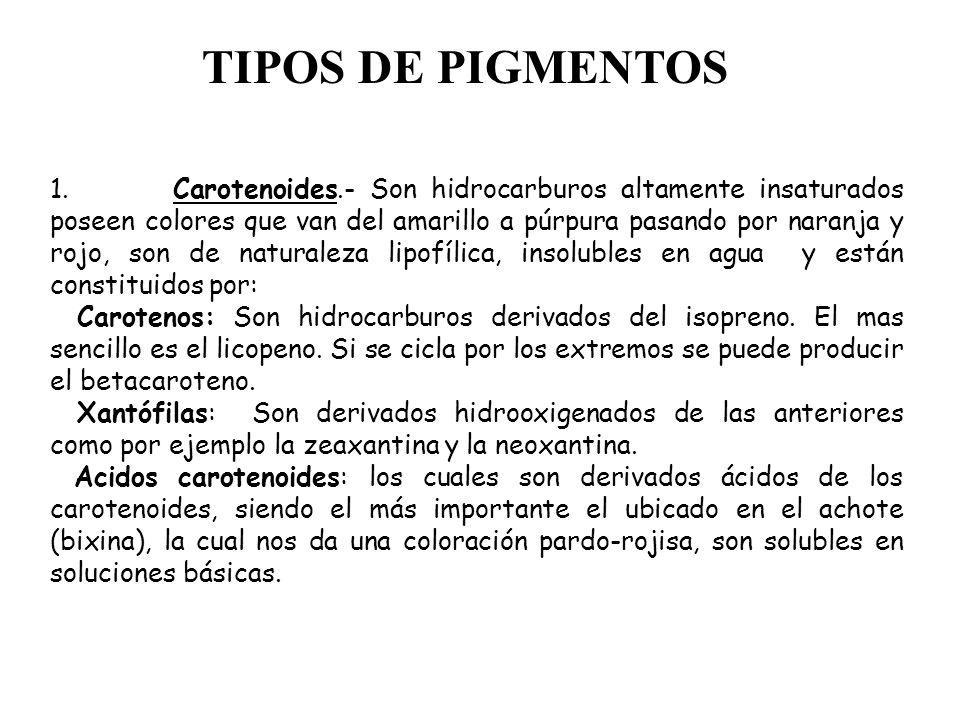 TIPOS DE PIGMENTOS 1. Carotenoides.- Son hidrocarburos altamente insaturados poseen colores que van del amarillo a púrpura pasando por naranja y rojo,