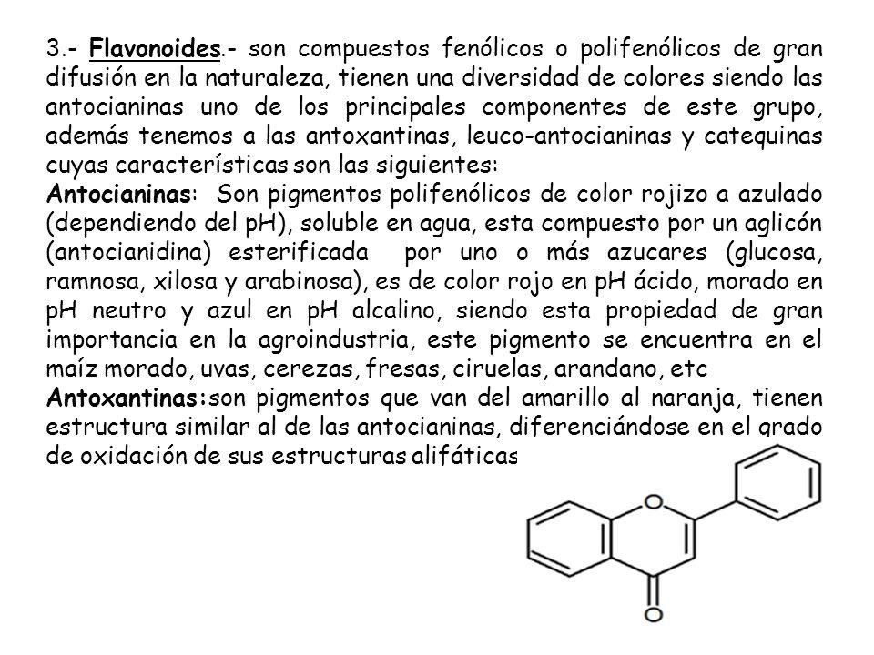 3.- Flavonoides.- son compuestos fenólicos o polifenólicos de gran difusión en la naturaleza, tienen una diversidad de colores siendo las antocianinas