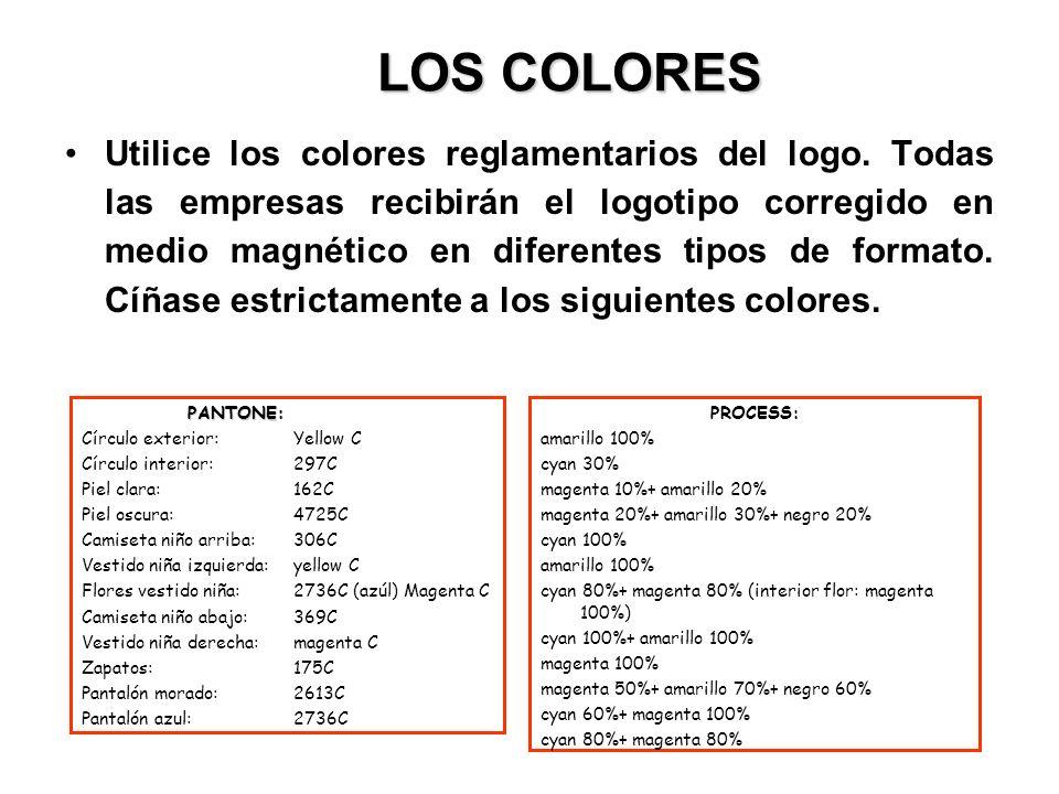 LOS COLORES Utilice los colores reglamentarios del logo. Todas las empresas recibirán el logotipo corregido en medio magnético en diferentes tipos de