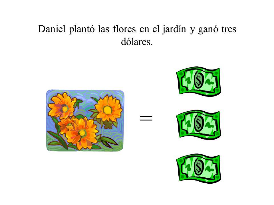 Ahora, ¿cuántos dólares tiene Daniel? $2 + $3 = ? + = ?