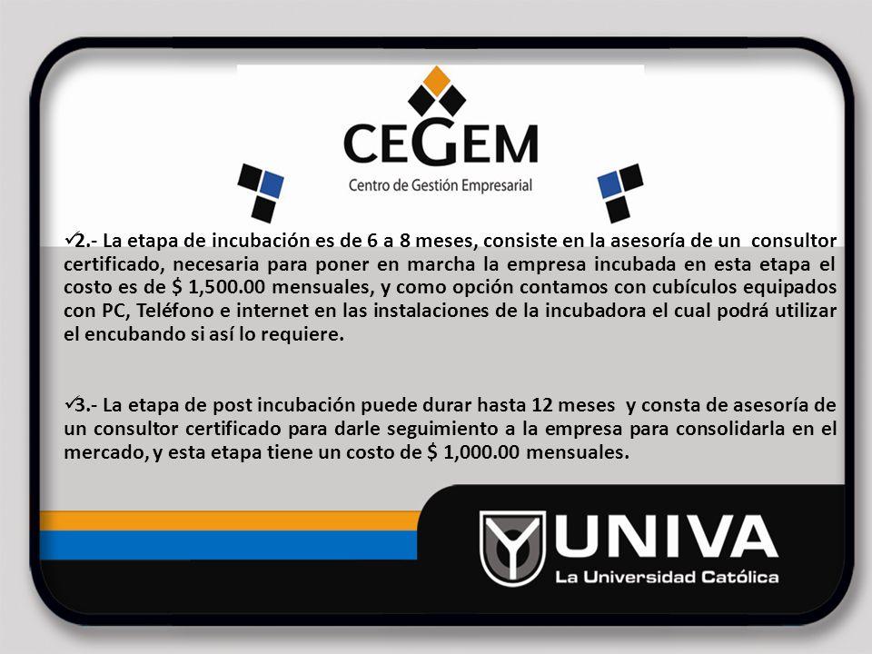 Ubicación de la incubadora de empresas CEGEM-UNIVA Av.