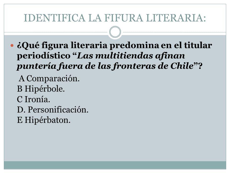 IDENTIFICA LA FIFURA LITERARIA: ¿Qué figura literaria predomina en el titular periodístico Las multitiendas afinan puntería fuera de las fronteras de