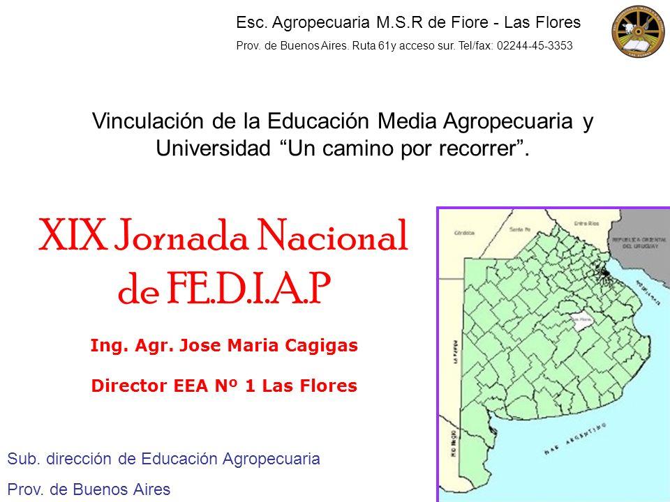 Vinculación de la Educación Media Agropecuaria y Universidad Un camino por recorrer. Sub. dirección de Educación Agropecuaria Prov. de Buenos Aires XI