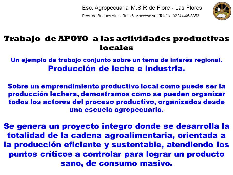 Trabajo de APOYO a las actividades productivas locales Un ejemplo de trabajo conjunto sobre un tema de interés regional. Producción de leche e industr