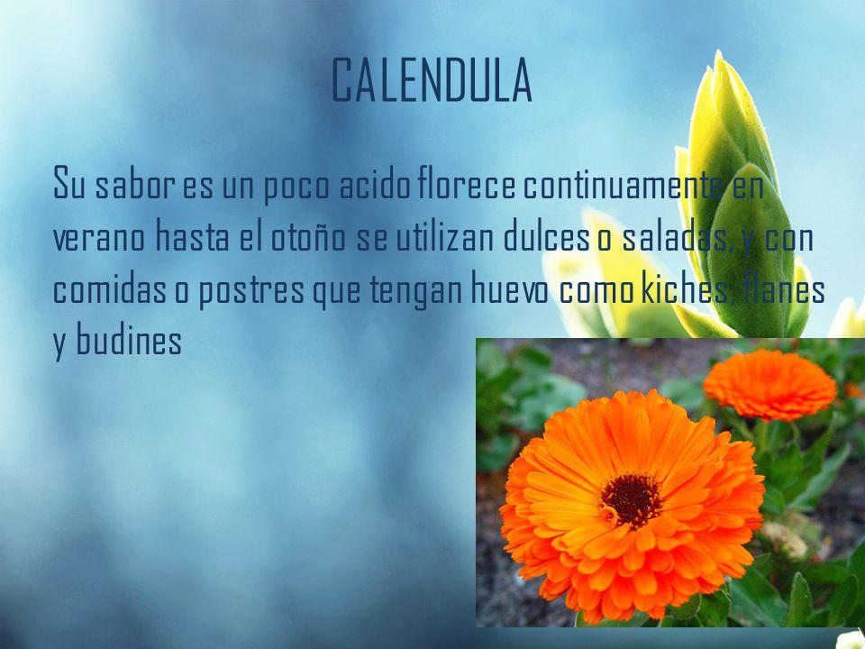 CALENDULA Su sabor es un poco acido florece continuamente en verano hasta el otoño se utilizan dulces o saladas, y con comidas o postres que tengan hu