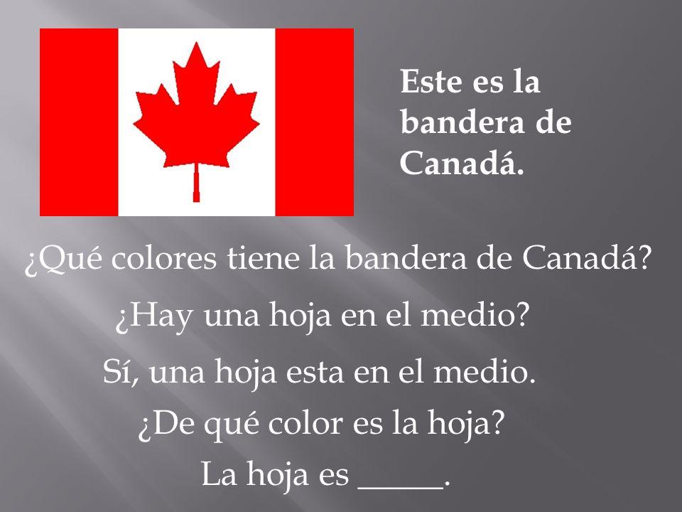Este es la bandera de Canadá. ¿Qué colores tiene la bandera de Canadá? ¿Hay una hoja en el medio? Sí, una hoja esta en el medio. ¿De qué color es la h