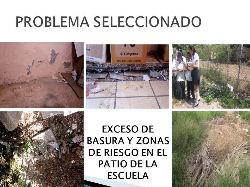 EXCESO DE BASURA Y ZONAS DE RIESGO EN EL PATIO DE LA ESCUELA
