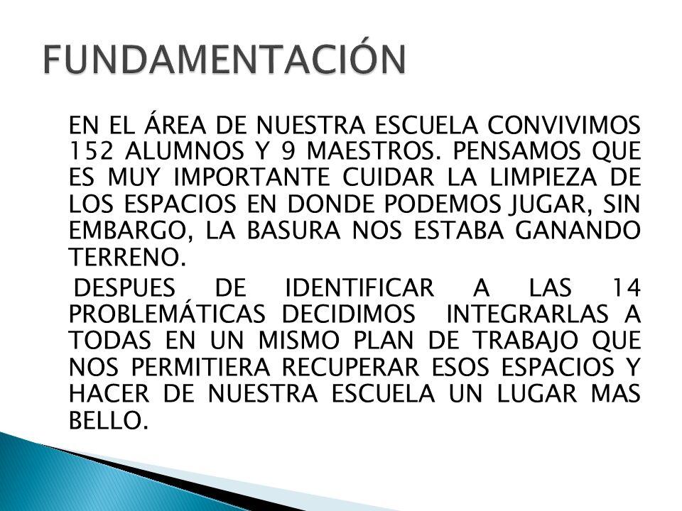 EN EL ÁREA DE NUESTRA ESCUELA CONVIVIMOS 152 ALUMNOS Y 9 MAESTROS.