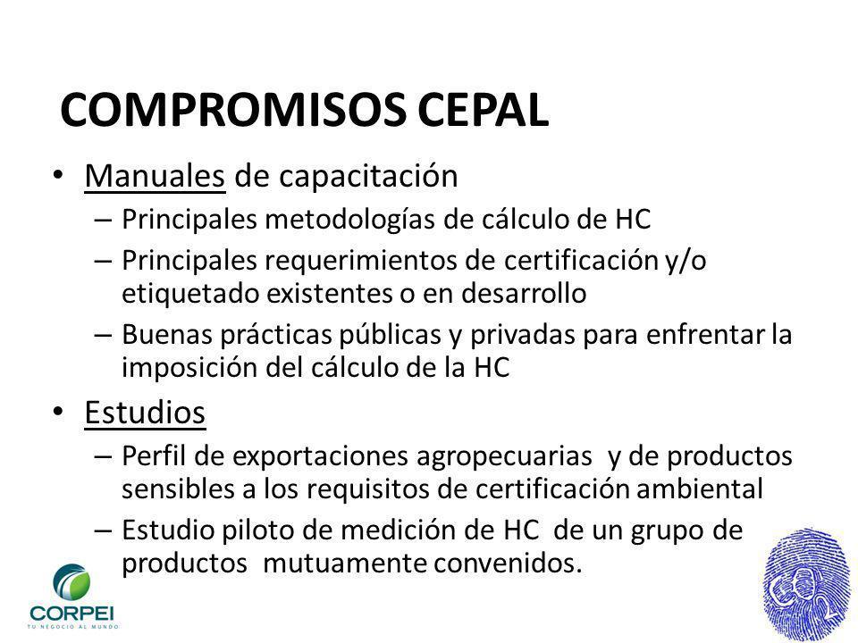 COMPROMISOS CEPAL Manuales de capacitación – Principales metodologías de cálculo de HC – Principales requerimientos de certificación y/o etiquetado ex