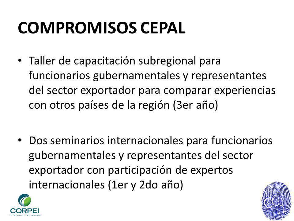 COMPROMISOS CEPAL Taller de capacitación subregional para funcionarios gubernamentales y representantes del sector exportador para comparar experienci