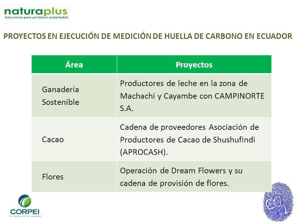 ÁreaProyectos Ganadería Sostenible Productores de leche en la zona de Machachi y Cayambe con CAMPINORTE S.A. Cacao Cadena de proveedores Asociación de