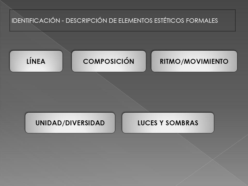 IDENTIFICACIÓN - DESCRIPCIÓN DE ELEMENTOS ESTÉTICOS FORMALES LUCES Y SOMBRAS COMPOSICIÓN UNIDAD/DIVERSIDAD RITMO/MOVIMIENTO LÍNEA