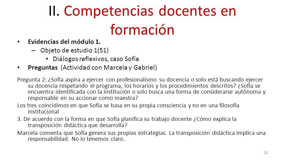 II. Competencias docentes en formación Evidencias del módulo 1. – Objeto de estudio 1(51) Diálogos reflexivos, caso Sofía Preguntas (Actividad con Mar