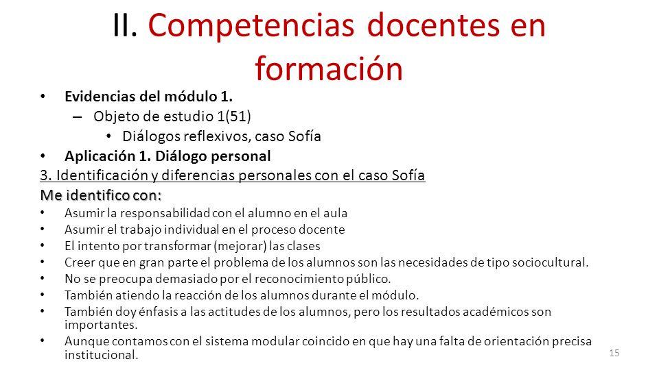 II. Competencias docentes en formación Evidencias del módulo 1. – Objeto de estudio 1(51) Diálogos reflexivos, caso Sofía Aplicación 1. Diálogo person