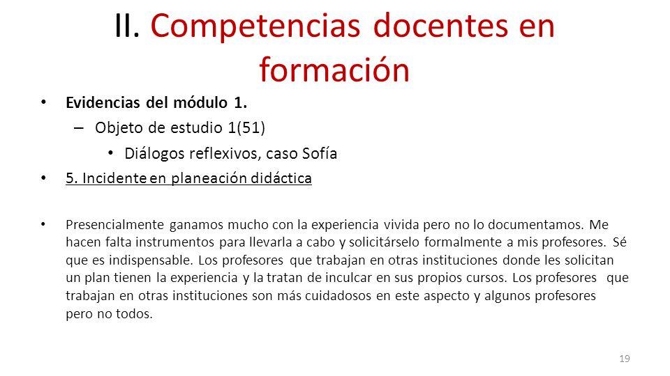 II. Competencias docentes en formación Evidencias del módulo 1. – Objeto de estudio 1(51) Diálogos reflexivos, caso Sofía 5. Incidente en planeación d