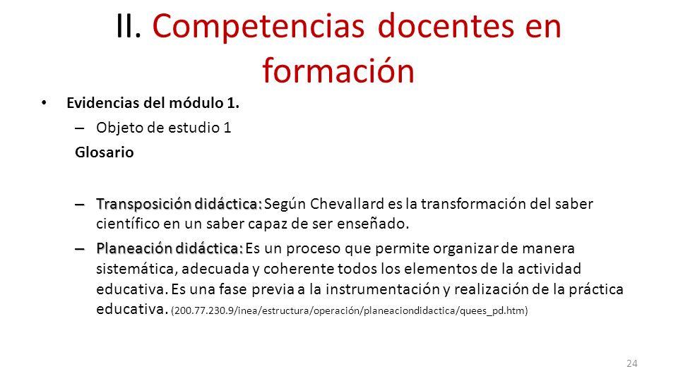 II. Competencias docentes en formación Evidencias del módulo 1. – Objeto de estudio 1 Glosario – Transposición didáctica: – Transposición didáctica: S
