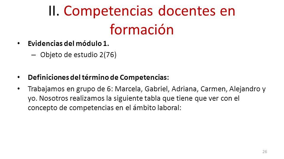 II. Competencias docentes en formación Evidencias del módulo 1. – Objeto de estudio 2(76) Definiciones del término de Competencias: Trabajamos en grup