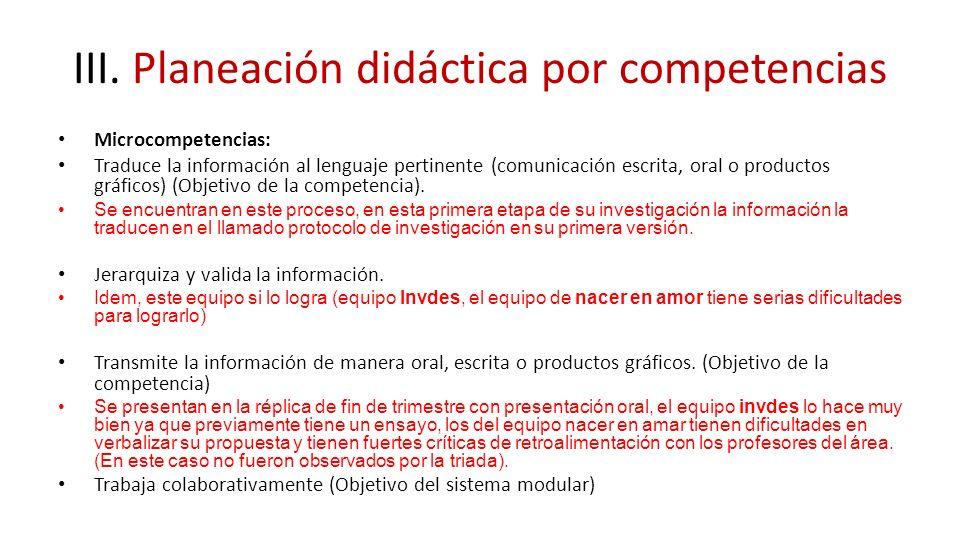III. Planeación didáctica por competencias Microcompetencias: Traduce la información al lenguaje pertinente (comunicación escrita, oral o productos gr