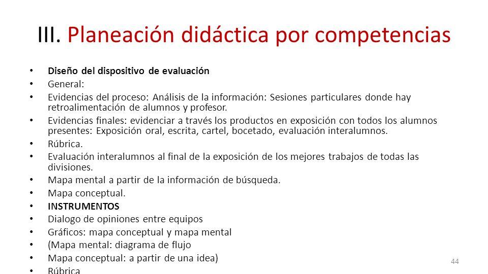 III. Planeación didáctica por competencias Diseño del dispositivo de evaluación General: Evidencias del proceso: Análisis de la información: Sesiones
